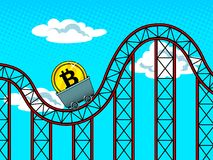 Bitcoin fluctuations pop art vector illustration Royalty Free Stock Photography