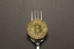 Bitcoin Fork Concept Dark Gray Background Royalty Free Stock Image