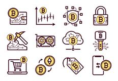 Bitcoin górnicze ikony ustawiać royalty ilustracja