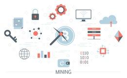 Bitcoin górniczy pojęcie Pomysł, cryptocurrency lub blockchain ilustracja wektor