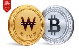 Bitcoin gagné pièces de monnaie 3D physiques isométriques Devise de Digital La Corée a gagné la pièce de monnaie avec le texte à  illustration stock