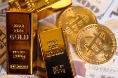 Free Bitcoin Gains Value From Gold, Which Appreciated In Investment Markets Stock Photography - 219809522