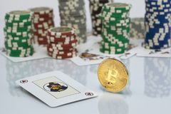 Bitcoin gambling game with poker chips stock image