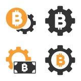 Bitcoin-Gang-Vektor-Ikonen-Satz Lizenzfreie Stockfotos