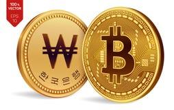 Bitcoin ganhado moedas 3D físicas isométricas Moeda de Digitas Coreia ganhou a moeda Cryptocurrency Moedas douradas com Bitcoin e Foto de Stock