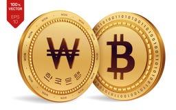 Bitcoin ganhado moedas 3D físicas isométricas Moeda de Digitas Coreia ganhou a moeda Cryptocurrency Moedas douradas com Bitcoin e ilustração stock