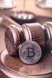 Bitcoin and gavel Stock Photos