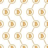 Bitcoin-Gelb auf nahtlosem Muster des weißen Hintergrundes Lizenzfreies Stockfoto