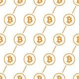 Bitcoin-Gelb auf nahtlosem Muster des weißen Hintergrundes Stockbilder