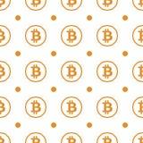 Bitcoin-Gelb auf nahtlosem Muster des weißen Hintergrundes Stockbild