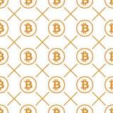 Bitcoin-Gelb auf nahtlosem Muster des weißen Hintergrundes Lizenzfreie Stockfotos