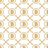 Bitcoin-Gelb auf nahtlosem Muster des weißen Hintergrundes Lizenzfreie Stockbilder