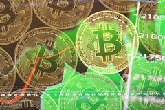 Bitcoin-Geld auf dem Netz Stockbild