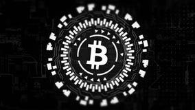 Bitcoin girante dell'ologramma circolare d'argento nel centro stock footage