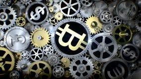 Bitcoin giratorio en unidad del engranaje con la diversa muestra de moneda libre illustration
