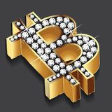 Bitcoin gold bling bling diamonds symbol icon logo vector design vector illustration
