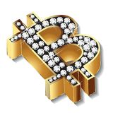 Bitcoin gold bling bling diamonds symbol icon logo vector design vector illustration