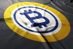Bitcoin gold BTG flag cloth illustration crypto stock photo