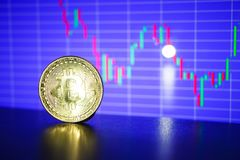 Bitcoin gold coin on the background of the graph. Of the monitor. Business concept Royalty Free Stock Photos