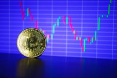 Bitcoin gold coin on the background of the graph. Of the monitor. Business concept Stock Photography