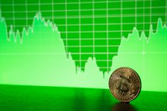 Bitcoin gold coin on the background of the graph. Of the monitor. Business concept Royalty Free Stock Photography