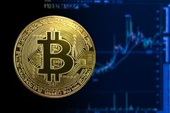 Bitcoin gold coin on chart background. Stock Photography