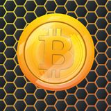Bitcoin gold coin crypto currency hexagonal background. Block sticker for bitocones for web pages, design or printing Royalty Free Stock Images