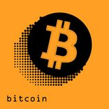 Bitcoin gold coin of crypto currency isolated on white background. Block sticker for bitocones for web pages or printing Stock Photography