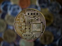 Bitcoin gold coin. Cryptocurrency concept Stock Images