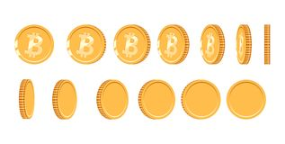 Bitcoin gold coin at different angles for animation. Vector Bitcoin set. Finance money currency bitcoin illustration. Digital currency. Vector icon Royalty Free Stock Photo