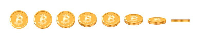 Bitcoin gold coin at different angles for animation. Vector Bitcoin set. Finance money currency bitcoin illustration. Digital currency. Vector icon Stock Photography