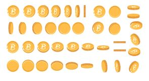 Bitcoin gold coin at different angles for animation. Vector Bitcoin set. Finance money currency bitcoin illustration. Digital currency. Vector icon Royalty Free Stock Image