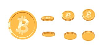 Bitcoin gold coin at different angles for animation. Vector Bitcoin set. Finance money currency bitcoin illustration. Digital currency. Vector icon Royalty Free Stock Images
