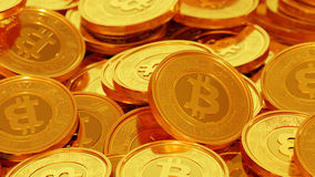 Bitcoin. Gold coins with circuit details and bitcoin logo royalty free stock photo