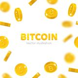 Bitcoin gold coins falling. Cryptocurrency wallet, transactions, mining and investing in the all-digital currency. Cartoon vector illustration on white Royalty Free Stock Photography