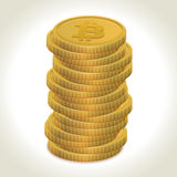 Bitcoin gold coins. Bitcoin money gold coins with light shadow and background Royalty Free Stock Photo