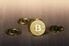 Bitcoin gold coins on a wooden table royalty free stock photo