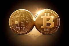 Bitcoin Gold emerging out of Bitcoin as a result of Hard Fork. Bitcoin splitting into two currencies Royalty Free Stock Photos