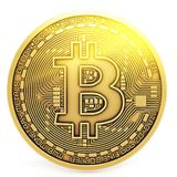 Bitcoin gold isolation white Royalty Free Stock Photos
