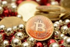 Bitcoin gold with luxury stack of coins Stock Images