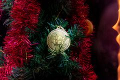 Bitcoin gold. money coin. New Year`s decor. Christmas tree stock images