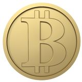 Bitcoin golden coin. 3D illustration on the white background royalty free illustration