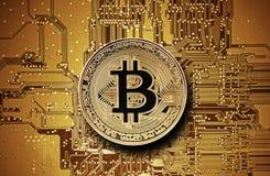 Bitcoin Golden Coin On Computer Circuit Board Stock Photos