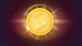 Bitcoin, golden coin. The symbol of the crypto currency on horizontal space background with stars. Virtual digital money Royalty Free Stock Photos