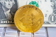 Bitcoin golden coin on white keyboard with dollar background royalty free stock photos