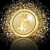 Bitcoin Golden Coins on glitter dust. Background.  Concept cryptocurrency in financial world. Banking business. Illustration Royalty Free Stock Photos
