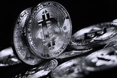 Bitcoin. Golden Bitcoin digital currency, financial industry, Black background Royalty Free Stock Photography