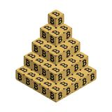 Bitcoin. Golden Large Bitcoin Pyramid. Isometric Pyramid consisting of Cubes with Black Bitcoin Sign on the Sides. Isolated Cubic Figure on White background Royalty Free Stock Photos