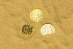 Bitcoin on golden sand. Several bitcoin crypto coins on brilliant golden sand, top view. finding and mining cryptocurrency royalty free stock photography