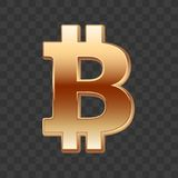 Bitcoin golden sign. Isolated on dark background. Golden digital currency. Vector design Stock Images